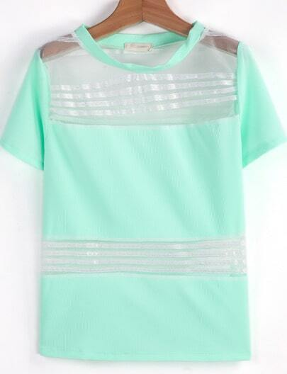 Green Short Sleeve Contrast Gauze Striped T-Shirt
