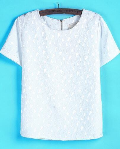 White Short Sleeve Triangle Pattern T-Shirt