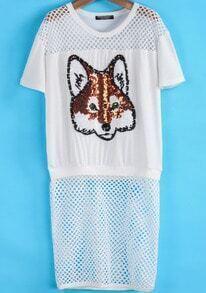 White Contrast Sheer Mesh Yoke Sequined Fox Pattern Dress