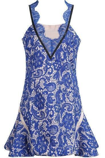 Blue Spaghetti Strap Embroidered Lace Dress