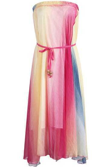 Pink Strapless Belt Rainbow Pleated Silk Dress