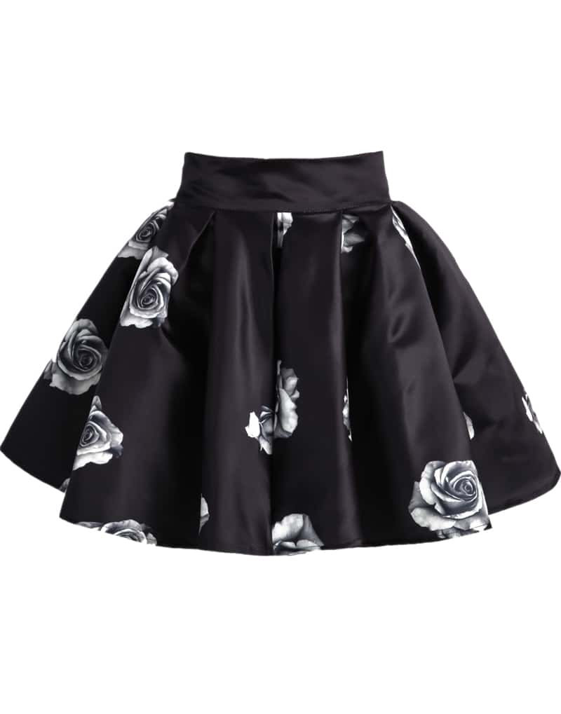 Black Rose Print Flare Skirt -SheIn(Sheinside)