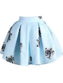 Blue Rose Print Flare Skirt