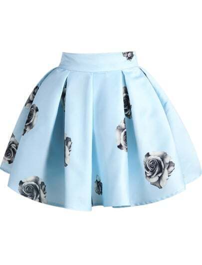 Blue Rose Print Flare Skirt