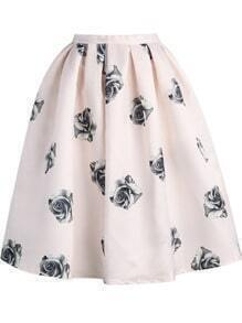 Pink Rose Print Flare Skirt