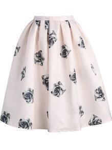 Pink Rose Print Flare Skirt