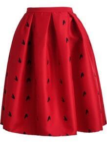 Red Frog Print Flare Skirt