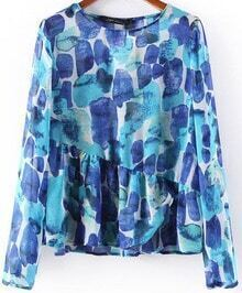 Blue Long Sleeve Geometric Print Chiffon Blouse