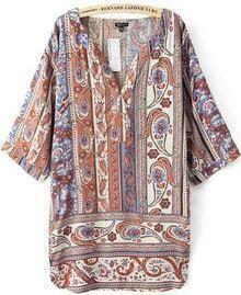 Khaki V Neck Vintage Floral Loose Blouse