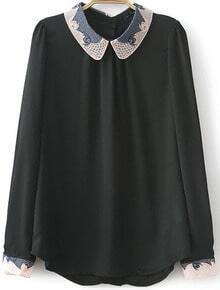 Black Long Sleeve Contrast Hollow Embroidered Blouse
