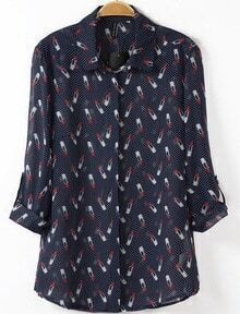 Navy Long Sleeve Lipstick Print Chiffon Blouse