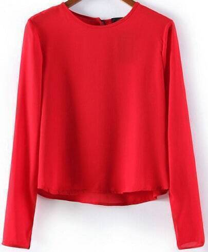 Red Long Sleeve Dipped Hem Crop Blouse