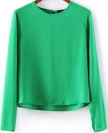 Green Long Sleeve Dipped Hem Crop Blouse