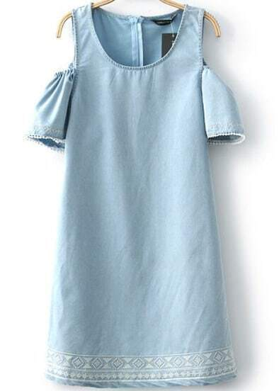 Blue Off the Shoulder Embroidered Denim Dress