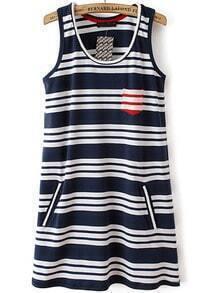 Blue White Striped Sleeveless Pockets Dress