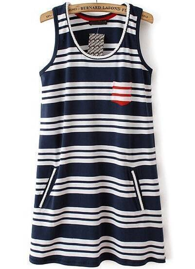 Blue White Striped Sleeveless Pockets Dress