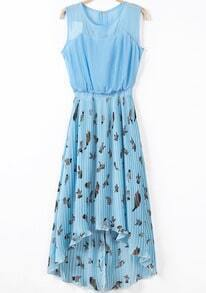 Blue Sleeveless Birds Print Pleated High Low Dress