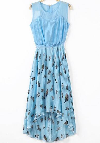 Blue Sleeveless Birds Print Pleated High Low Dress