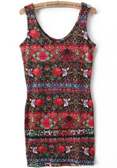 Black Sleeveless Vintage Floral Bodycon Tank Dress