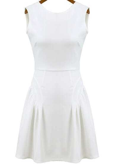 White Sleeveless Backless Ruffle Dress
