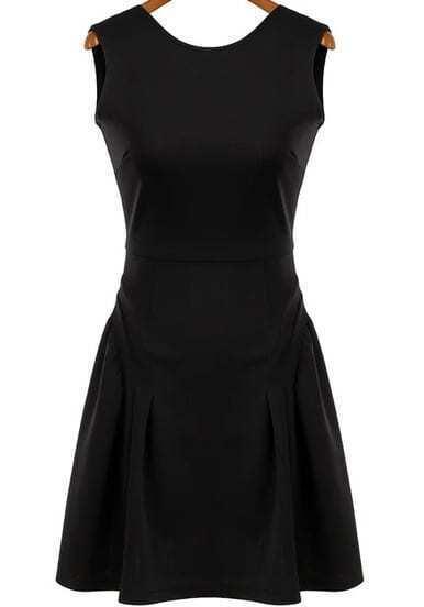 Black Sleeveless Backless Ruffle Dress