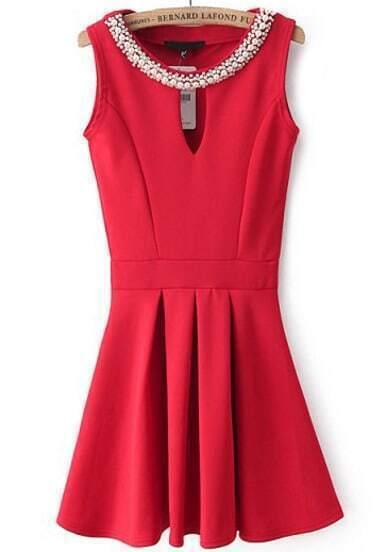 Red Sleeveless Rhinestone Hollow Pleated Dress