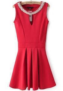 Red Sleeveless Rhinestone Hollow Pleated Dress