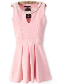 Pink Sleeveless Rhinestone Hollow Pleated Dress