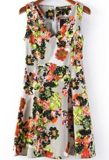 Apricot V Neck Sleeveless Floral Tank Dress