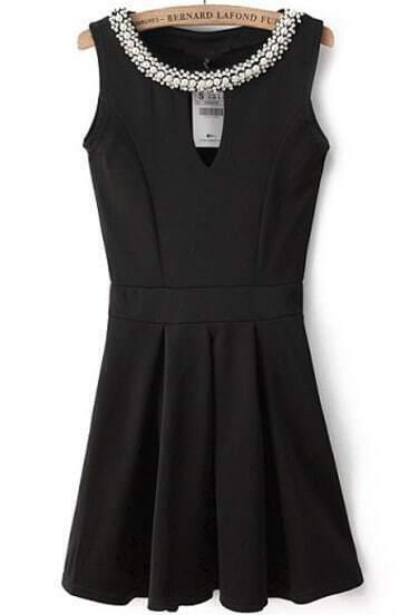 Black Sleeveless Rhinestone Hollow Pleated Dress