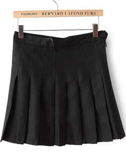 Black High Waist Pleated Skirt -SheIn(Sheinside)
