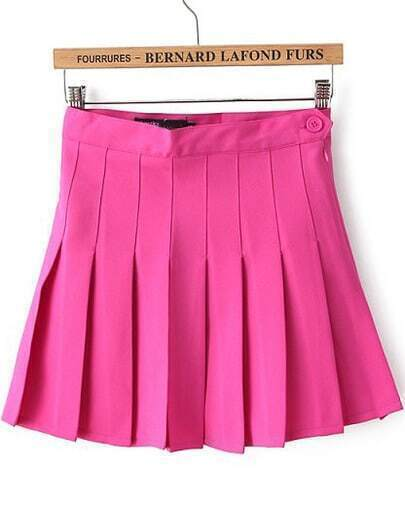 Rose Red High Waist Pleated Skirt
