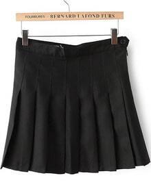 Black High Waist Pleated Skirt
