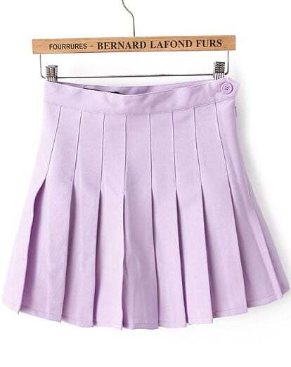 Purple High Waist Pleated Skirt -SheIn(Sheinside)