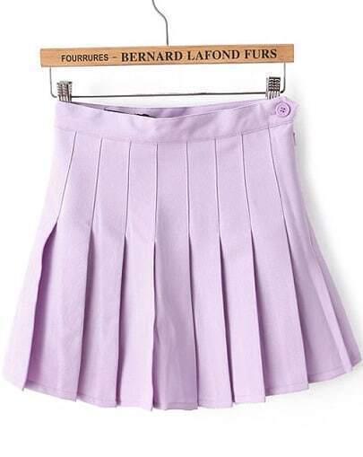 Purple High Waist Pleated Skirt