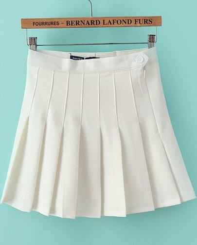 White High Waist Pleated Skirt