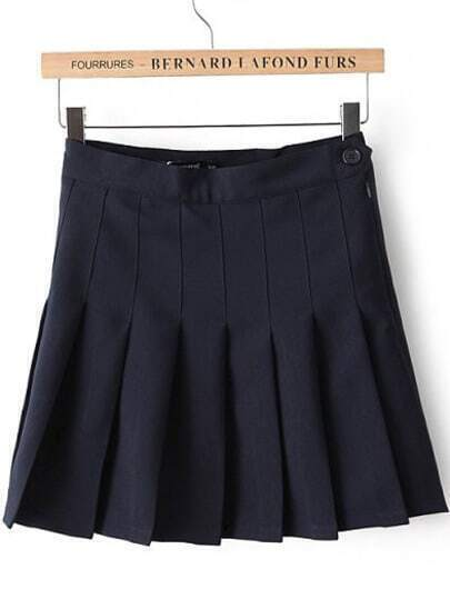Navy High Waist Pleated Skirt