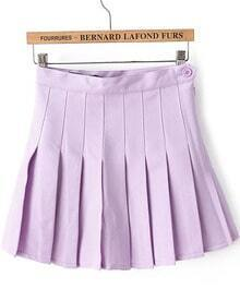 Purple High Waist Pleated Skirt