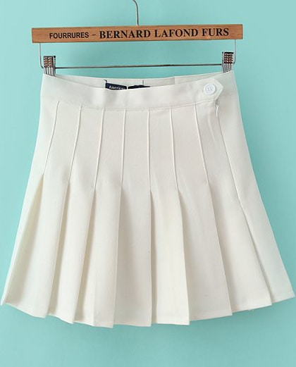 White High Waist Pleated Skirt -SheIn(Sheinside)