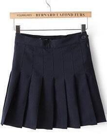 Navy High Waist Pleated Skirt