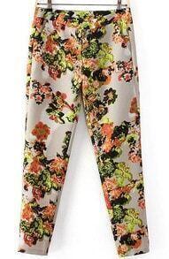 Apricot Floral Slim Pencil Pant