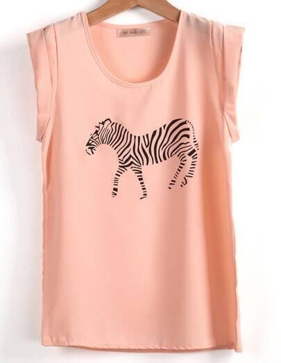 Pink Short Sleeve Zebra Print Chiffon T-Shirt