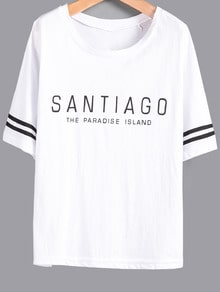 White Striped Short Sleeve Letters Print T-Shirt