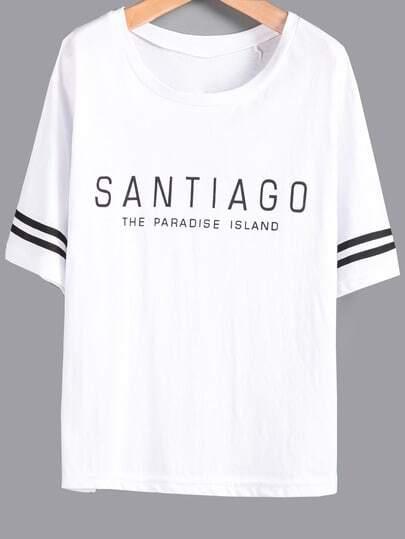 Белая футболка с текстовым принтом
