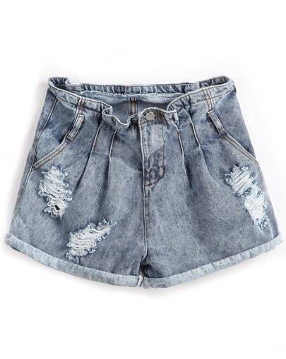 Blue Vintage Ripped Flange Denim Shorts