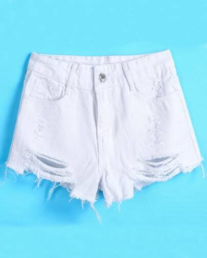 White Ripped Pockets Denim Shorts