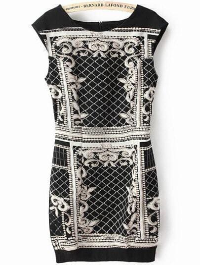 Black Sleeveless Vintage Diamond Print Slim Dress