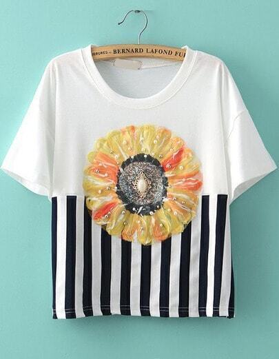 White Short Sleeve Vertical Stripe Floral T-Shirt