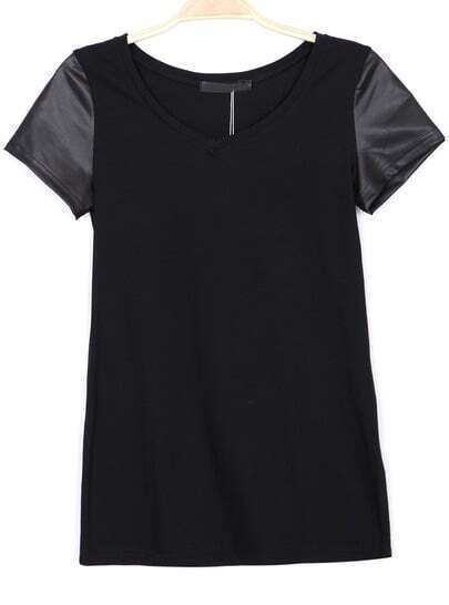 Black Contrast PU Leather Short Sleeve T-Shirt