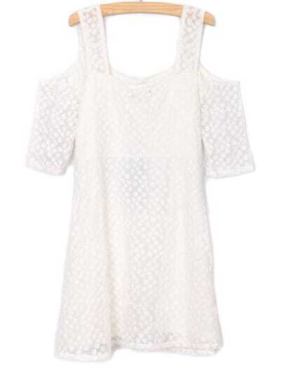 White Off the Shoulder Half Sleeve Lace Dress